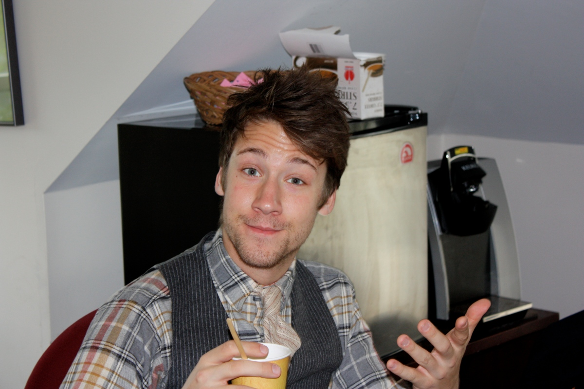James, awake with with a little help from his coffee!